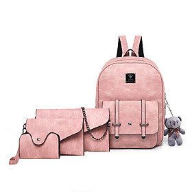 Women's Bags PU Leather Bag Set 4 Pieces Purse Set Zipper for Daily Black / Blushing Pink / Light Gray / Coffee / Bag Sets
