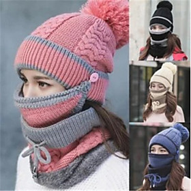 Women's Floppy Hat Knitwear Active - Solid Colored Windproof Fall Winter Black Blushing Pink Wine