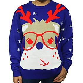 Men's Christmas Animal Pullover Acrylic Fibers Long Sleeve Sweater Cardigans Crew Neck Winter Blue