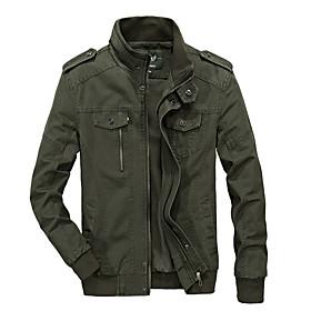 Men's Jacket Regular Solid Colored Daily Basic Black Army Green Khaki L XL XXL