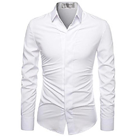 (nknks650 super stretchy hide button point wrinkle free dress shirts white us s(tag size s)