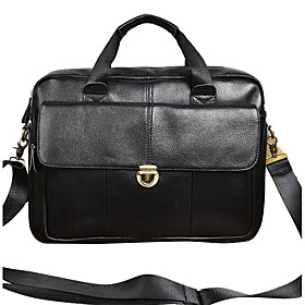 Men's Bags Cowhide Top Handle Bag Zipper for Office  Career Black / Brown