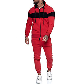 Men's 2-Piece Full Zip Tracksuit Sweatsuit Street Athleisure Long Sleeve 2pcs Winter Cotton Breathable Soft Fitness Gym Workout Running Jogging Training Sports