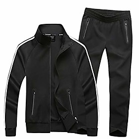 men's athletic jogging seamless pocket casual sweat suits active tracksuit black s