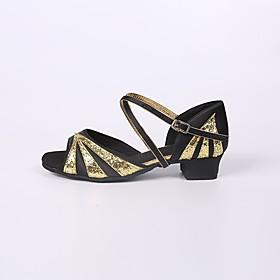 Women's Latin Shoes Heel Thick Heel Satin Fuchsia / Gold