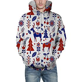 Men's Christmas Pullover Hoodie Sweatshirt 3D Graphic Reindeer Christmas Hoodies Sweatshirts  White