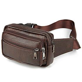 Men's Bags Cowhide Fanny Pack Zipper for Daily / Outdoor Dark Brown / Black