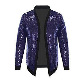men's all over sequin jacket long sleeve varsity bling bling bomber metallic nightclub styles cardigan (purple l)