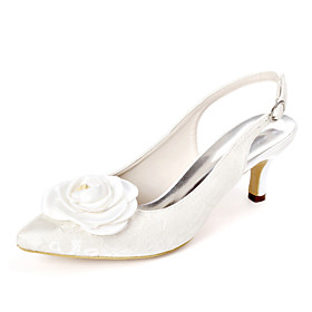 Women's Wedding Shoes Kitten Heel Pointed Toe Sweet Wedding Party  Evening Satin Flower Floral Lace White / Ivory