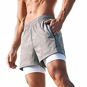 men's 4 inches running athletic shorts 2-in-1 zipper pockets(grey l(xxxl))