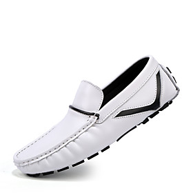 Men's Loafers  Slip-Ons Business / Classic / Casual Daily Office  Career PU Breathable Non-slipping Wear Proof White / Black / Blue Fall / Winter / British
