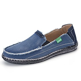 Men's Loafers  Slip-Ons Casual Daily Canvas Breathable Non-slipping Wear Proof Almond / Black / Blue Spring / Fall