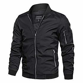 men's lightweight bomber jacket loose fit softshell windbreaker thin coat black