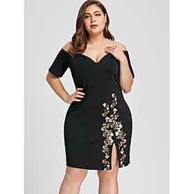 Women's A-Line Dress Knee Length Dress - Half Sleeve Floral Print Summer Fall Elegant 2020 Black XL XXL 3XL 4XL 5XL