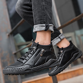 Men's Boots Casual / British Daily Walking Shoes Leather Warm Shock Absorbing Black / Khaki / Brown Winter