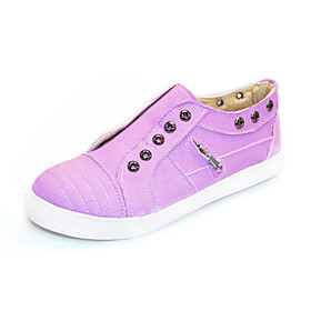 Women's Trainers / Athletic Shoes Flat Heel Round Toe Casual Basic Daily Solid Colored Denim Walking Shoes White / Dark Purple / Light Purple