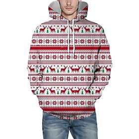Men's Christmas Pullover Hoodie Sweatshirt Striped 3D Graphic Christmas Hoodies Sweatshirts  Red