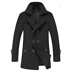 men's casual trench coat double breasted fit lapel warm overcoat black m