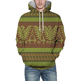 Men's Christmas Pullover Hoodie Sweatshirt Lines / Waves 3D Graphic Christmas Hoodies Sweatshirts  Green