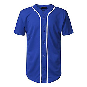 men's baseball jersey button down short sleeve shirts (royal blue, 3x-large)