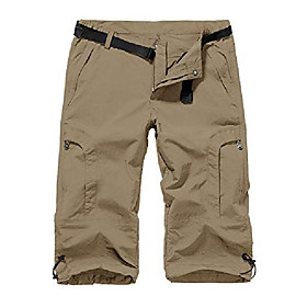 women's quick dry cargo shorts,outdoor casual straight leg capri long shorts for hiking camping travel,khaki,28