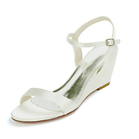 Women's Wedding Shoes Wedge Heel Open Toe Sweet Wedding Party  Evening Buckle Solid Colored Satin White / Black / Purple