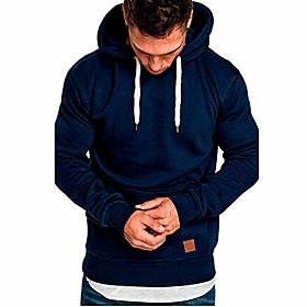 casual sweatshirt autumn winter warm hoodies long sleeve top jackets tracksuits with pockets (dark blue, xl)