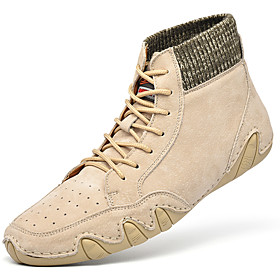 Men's Boots Casual Daily Outdoor Walking Shoes Pigskin Wear Proof Booties / Ankle Boots Khaki / Gray Fall / Winter
