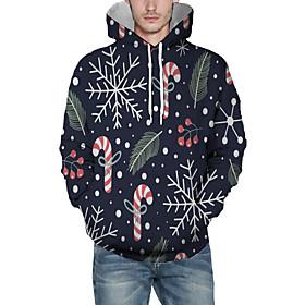 Men's Christmas Pullover Hoodie Sweatshirt Trees / Leaves 3D Graphic Christmas Hoodies Sweatshirts  Navy Blue