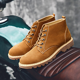 Men's Boots Casual Outdoor Walking Shoes Pigskin Breathable Non-slipping Wear Proof Wine / Black / Brown Fall