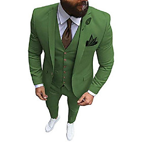 formal menamp; #39;s suit regular fit 3 piece solid prom tuxedos business suits set for wedding grooms amp; #40;blazer vest pantsamp; #41; amp; #40;olive green
