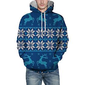 Men's Christmas Pullover Hoodie Sweatshirt Color Block 3D Graphic Christmas Hoodies Sweatshirts  Blue