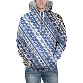 Men's Christmas Pullover Hoodie Sweatshirt Striped 3D Graphic Christmas Hoodies Sweatshirts  Blue