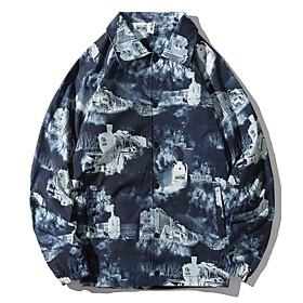 Men's Buttoned Front Jacket Regular Geometric Daily Navy Blue M L XL