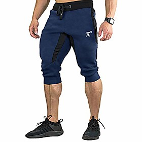 men's 3/4 joggers capri casual pants running gym shorts with zipper pockets,navy blue,large