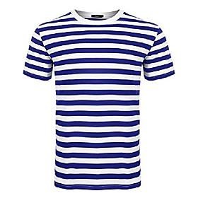 big boys men cotton crewneck casual short sleeve stripe t-shirt blue