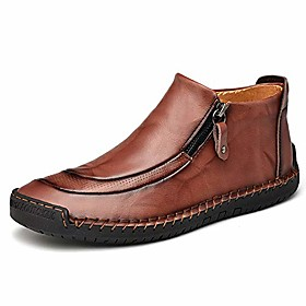 men's leather driving classic handmade ankle casual comfortable walking loafers slip on shoes dark brown 12 m us 48