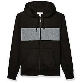 butamp; #39;s full-zip hooded fleece sweatshirt, black/light grey heather stripe x-large