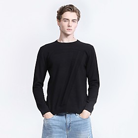 Men's Basic Knitted Solid Color Pullover Long Sleeve Sweater Cardigans Crew Neck Fall Winter Black Camel