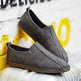 Men's Loafers  Slip-Ons Casual Daily Walking Shoes PU Breathable Non-slipping Wear Proof Black / Brown / Gray Fall