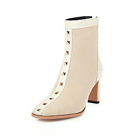 Women's Boots Block Heel Square Toe Preppy Minimalism Party  Evening Office  Career Rivet Solid Colored Nubuck Booties / Ankle Boots Black / Beige