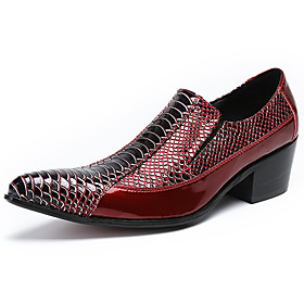 Men's Loafers  Slip-Ons Business / Casual / British Daily Party  Evening Cowhide Handmade Non-slipping Wear Proof Burgundy Fall / Winter