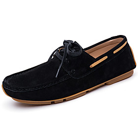 Men's Boat Shoes Casual Daily Walking Shoes Leather Black / Khaki / Green Spring / Fall