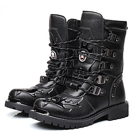 Men's Boots Casual Daily PU Mid-Calf Boots Black Fall