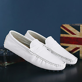 Men's Loafers  Slip-Ons Casual Daily Walking Shoes Nappa Leather Breathable Non-slipping Wear Proof White / Black / Blue Fall