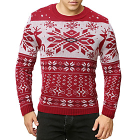Men's Christmas Knitted Geometric Pullover Long Sleeve Sweater Cardigans Crew Neck Fall Winter White Red