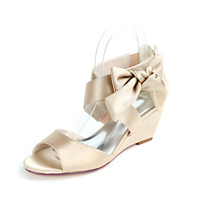 Women's Wedding Shoes Wedge Heel Open Toe Sweet Wedding Party  Evening Bowknot Solid Colored Satin White / Black / Purple