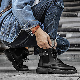 Men's Boots British Daily Walking Shoes Leather Breathable Shock Absorbing Black Spring / Fall