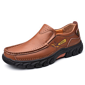 Men's Loafers  Slip-Ons Casual Daily Outdoor Leather Wear Proof Light Brown / Dark Brown / Black Spring / Fall