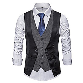 Men's V Neck Vest Geometric Black / Gray XL / XXL